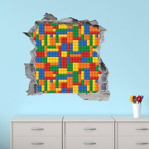 3d lego brick wall children s kids bedroom wall sticker