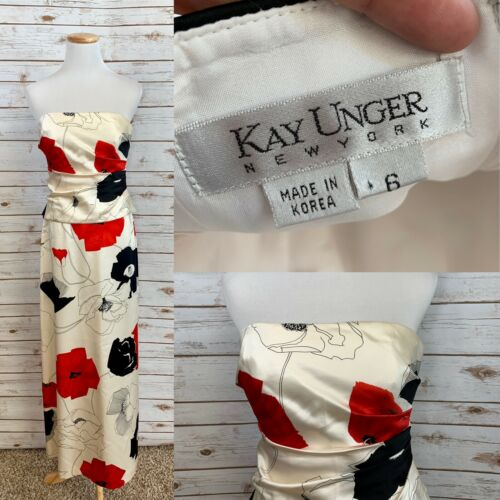 Kay Unger 2pc 100% SILK Floral Skirt Strapless Top