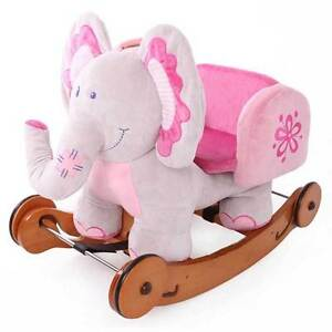Image Is Loading Wooden Pink Elephant Rocking Horse Kids Ride On