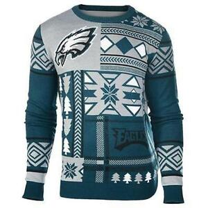 Details About Ugly Christmas Sweater Nfl Philadelphia Eagles Patches Football Xmas Crew Neck