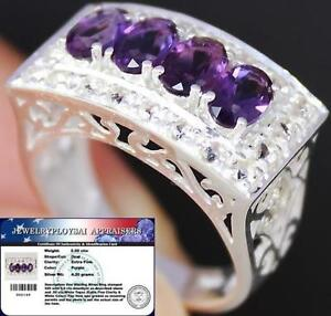 Natural-2-50Cts-AMETHYST-amp-White-TOPAZ-925-Sterling-Silver-RING-S7-5-ChunKY-BOLD