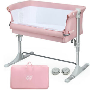 Portable Baby Bed Side Sleeper Infant Travel Bassinet Crib W/Carrying Bag Pink