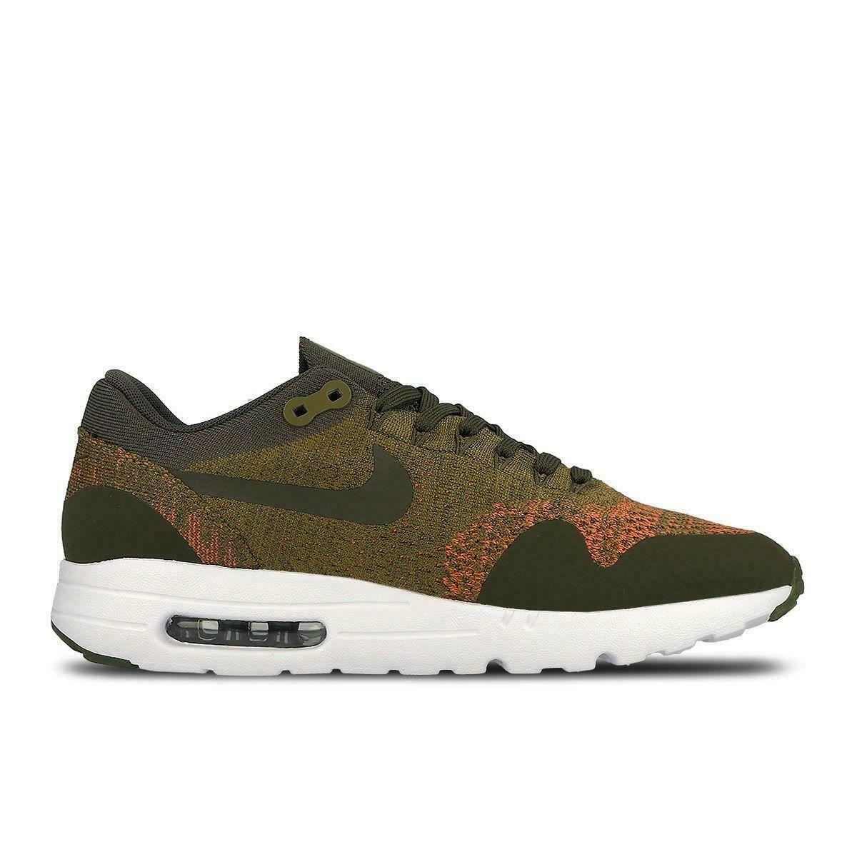 Mens NIKE AIR MAX 1 ULTRA FLYKNIT Olive Trainers 843384 300