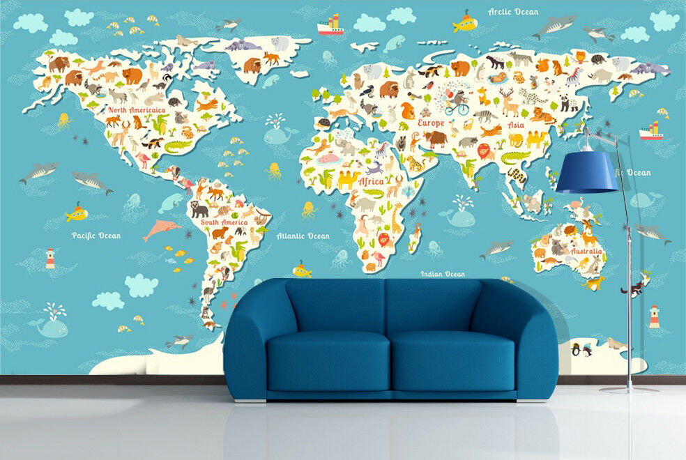 3D Animal World Map 85 Wall Paper Murals Wall Print Wall Wallpaper Mural AU Kyra