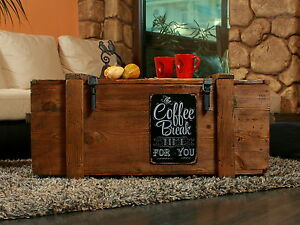 OLD-TRAVEL-TRUNK-Coffee-Table-Cottage-Steamer-PINE-CHEST-with-Vintage-Tin-Sign