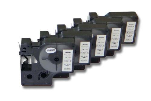 43613 5x DRUCKER BESCHRIFTUNGSBAND 6mm SCHWARZ-WEIß für DYMO D1
