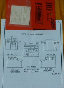 American-Model-Builders-Inc-HO-238B-Window-set-for-Athearn-C44-9W-Gull-Wing
