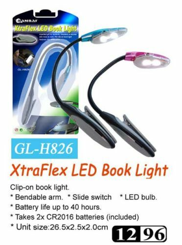 BOOK-LIGHTS-LED-FLEXIBLE-ARM-HIGH-QUALITY-LOT-OF-TWO-12-MONTH-WARR