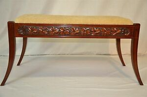 Antique-Regency-Sheraton-Style-Carved-amp-Inlaid-Solid-Mahogany-Bench-c-1900-039-s