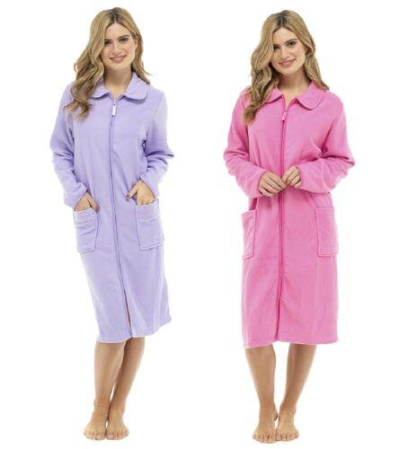 Womens Polar Fleece Zip Front Dressing Gown Bathrobe Housecoat Robe Ladies