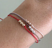 Three Wishes Gold Fill Thread Beaded Bracelet Also In Silver And Rose Gold Fill