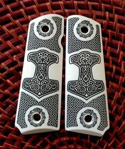 1911-custom-engraved-ivory-scrimshaw-grips-Viking-Thor-Hammer-Mjolnir-Ouroboros