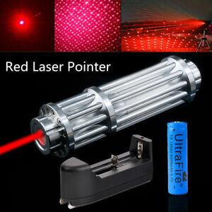 Military-Red-Laser-Pointer-Pen-1mW-650nm-Beam-Light-Zoom-Burning-18650-Charger