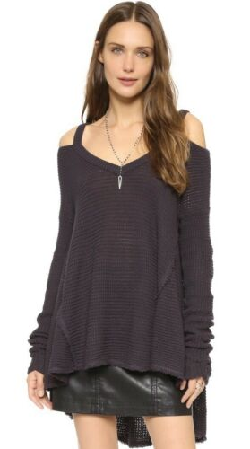 NWT Free People Moonshine V neck Gray Thermal Cold Shoulder Top Cut Out Charcoal