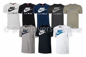 Men-039-s-Nike-Air-Max-Crew-Neck-T-Shirt-100-Cotton-Black-Blue-White-809247-AJ1881