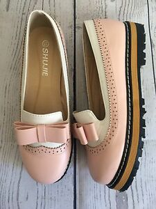 women's platform oxfords pink and white slip on shoes