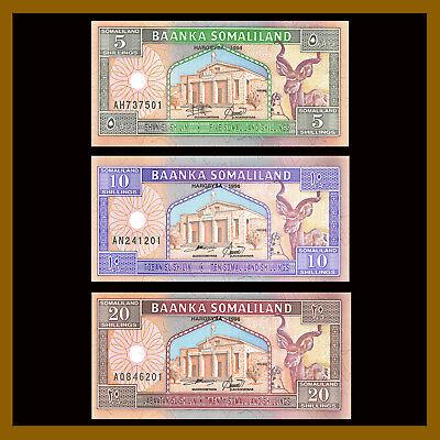 5;10;20 shillings 1994 Picks 1;2;3 UNC Somaliland Set