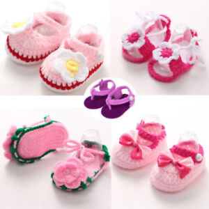 Baby Kid Girls Crib Crochet Shoes Boots Handmade Knit Sock Infant Shoes Footwear
