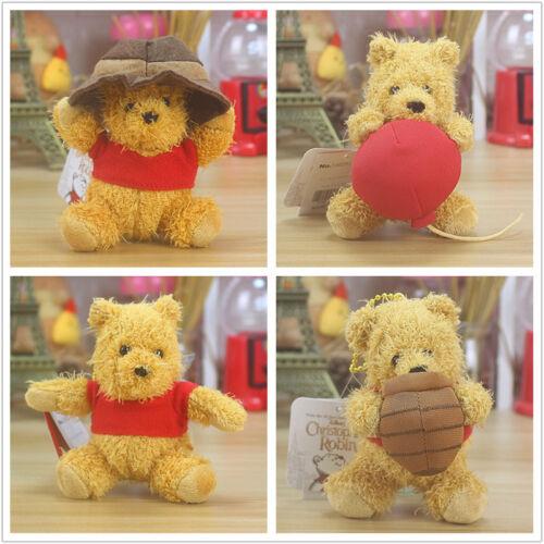 New Disney Christopher Robin Plush Doll Winnie The Pooh keychain 4pcs