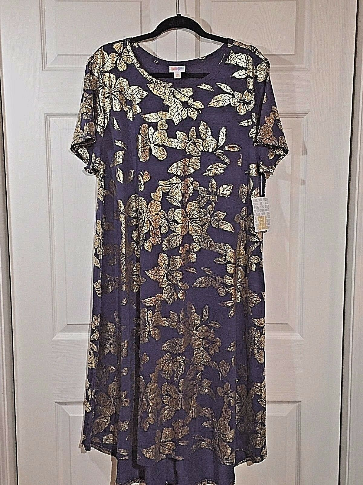 NWT LuLaRoe 3XL elegant Indigo blå Floral w guld Foil GORGEOUS billy Dress XXL