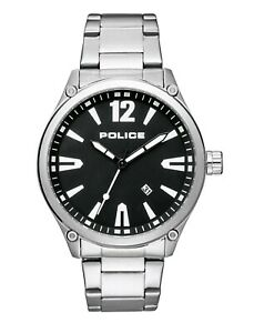 Police-Men-039-s-Classic-Quartz-Watch-Silver-Stainless-Steel-Black-Dial-15244JBS-02M