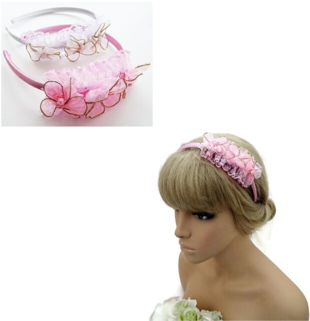 Pretty Satin Headband Alice Band with Flower Pearl Flower Bridesmaid Fascinator
