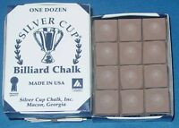 Silver Cue Camel/taupe Billiard Pool Cue Chalk - Box Of 12