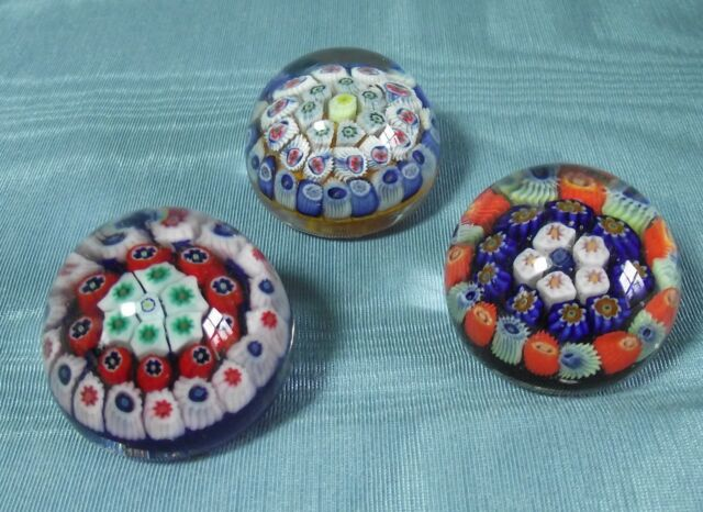 3 STRATHEARN MINIATURE VINTAGE GLASS PAPERWEIGHT MILLEFIORI CANES MULTI COLOURED