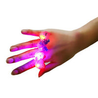 10pcs Kids Cartoon LED Flashing Glowing Finger Rings Christmas Baby Toys Gifts