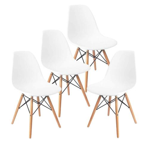 Set of 4 Modern Style Dining Side Chair Mid Century DSW Plas