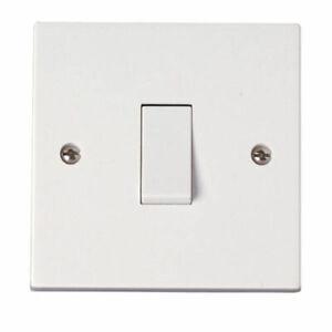 Light-Switch-Single-Gang-1-Way-1-Gang-1G-10AX-White-Plastic-Wall-Switch