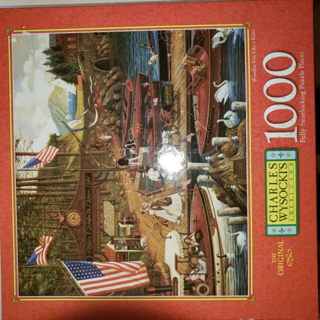"1997 Charles Wysocki 1000 Piece Jigsaw Puzzle ""Wooden You Like A Ride"" NEW"
