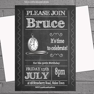 mens party birthday invitations clocks blackboard time for a x12