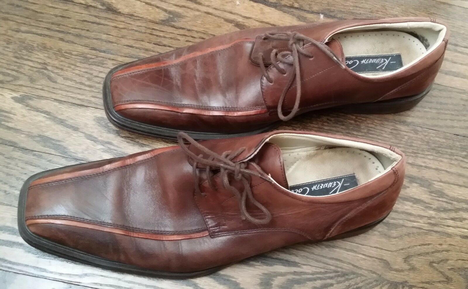Kenneth Cole NY Brown Leather Oxfords Size 10 Laces Men's shoes Stylish New York