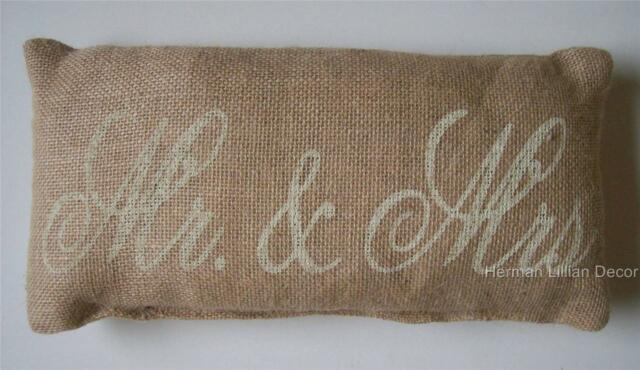 "Mr. and Mrs. Stenciled Burlap Pillow 6"" x 12"" Sign"