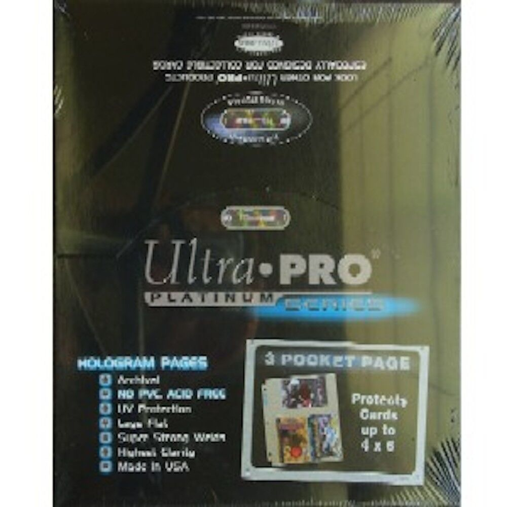 50 Ultra Pro 3 Pocket Pages 4 X 6 Sheets Protectors Photo Postcard