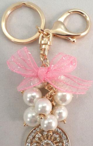 Rhinestone Bling Key Chain Fob Phone Purse Charm Keys And Beads Bow