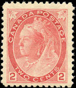 1899 Mint NH Canada F+ Scott #77 2c Queen Victoria Numeral Issue Stamp