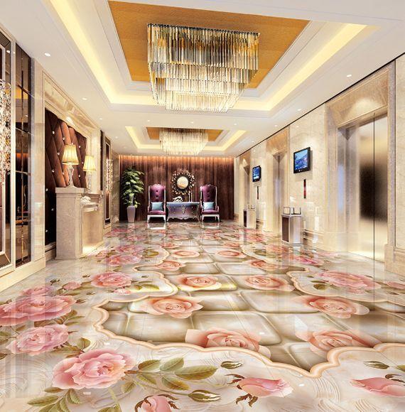 3D Fleurs 43 Fond d'écran étage Peint en Autocollant Murale Plafond Chambre Art