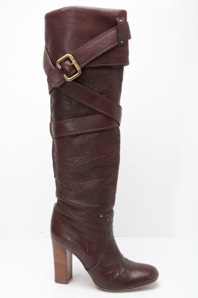 CHLOE Womens Brown-Leather gold-Buckle Strappy Over-The-Knee High Heel Boots 38