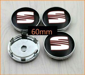 Seat-Wheel-Centre-Cap-60mm-Red-Black-Set-Of-4-Hub-Caps-Emblem-Badge-Logo