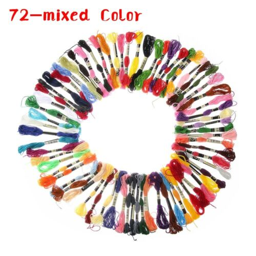 12-100 Colors Embroidery Thread Cross Stitch Floss Cotton Sewing Skeins 8m