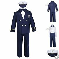 Baby Boys Toddler Nautical Captain Sailor Suits Wedding Formal Outfits Navy 0-7