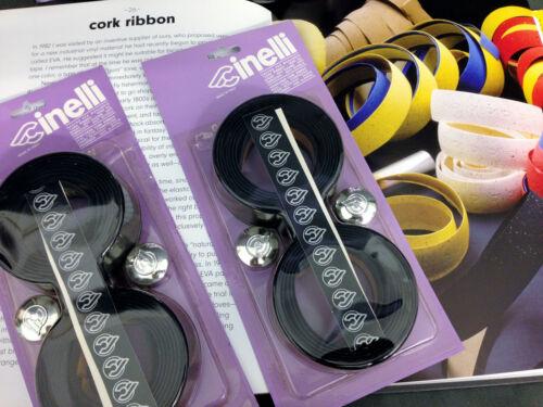 Korkband Bar Tape BLACK caps chrom Cult NOS VINTAGE Cinelli Cork Ribbon Lenker