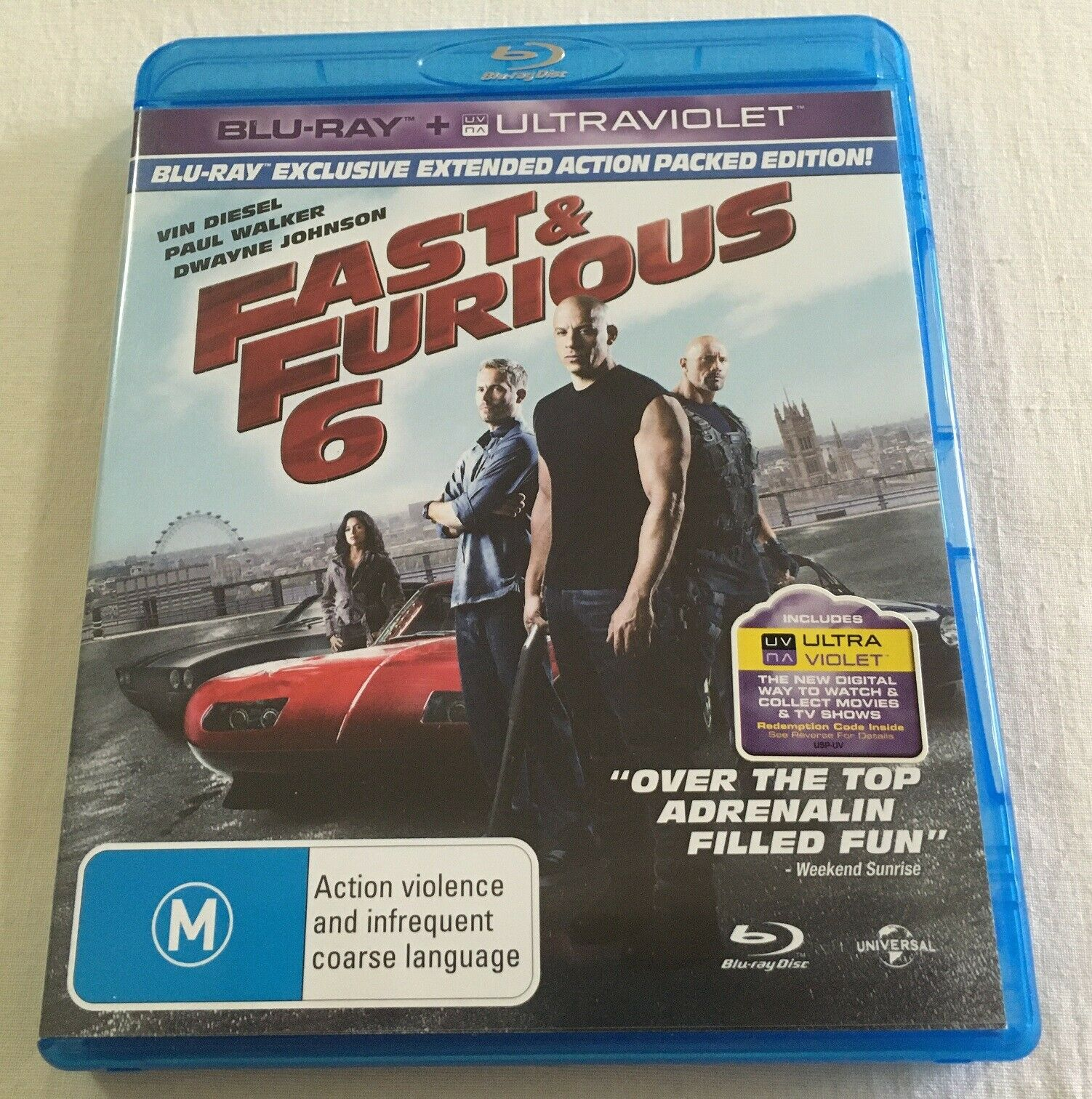 Fast Furious 6 2013 Blu Ray Region Free Like New Vin Diesel For Sale Online