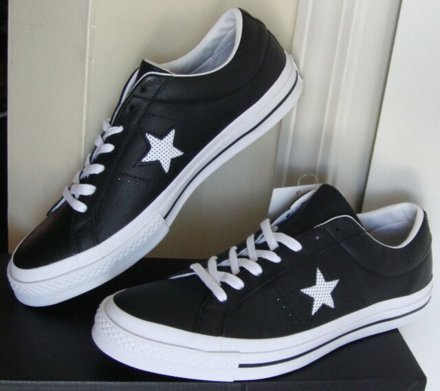55b15a1a2f89 Converse One Star Leather Black White Men Skateboarding Shoes ...