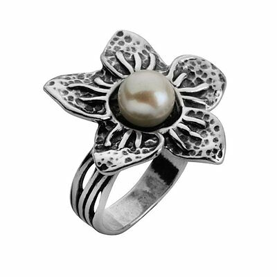R01070SP SHABLOOL ISRAEL Flower FW Pearl Sterling Silver 925 Ring Sz. 6 7 8 9