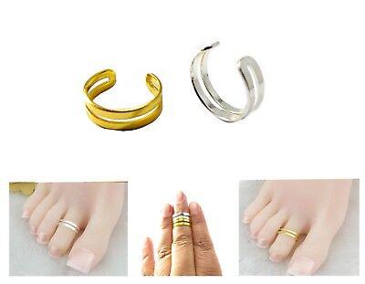 efffcbc68b5da Double Band Adjustable Men/Women Silver/Gold Thumb/Toe/Finger/Knuckle Ring  | eBay