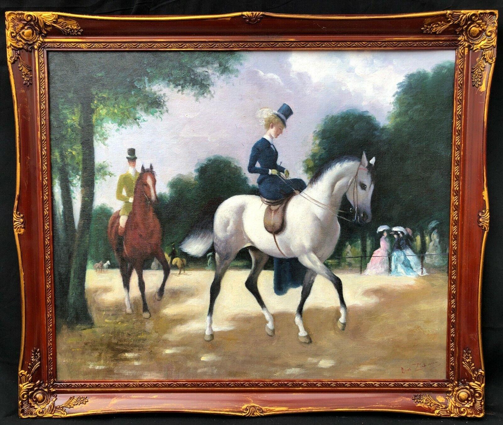 1960s British Painting Of Lady Riding Horse Doris Clare Zinkeisen 1898 1991 Ebay