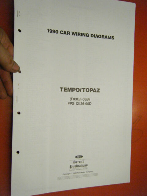 1990 Ford Tempo Mercury Topaz Factory Wiring Diagrams Sheets Service